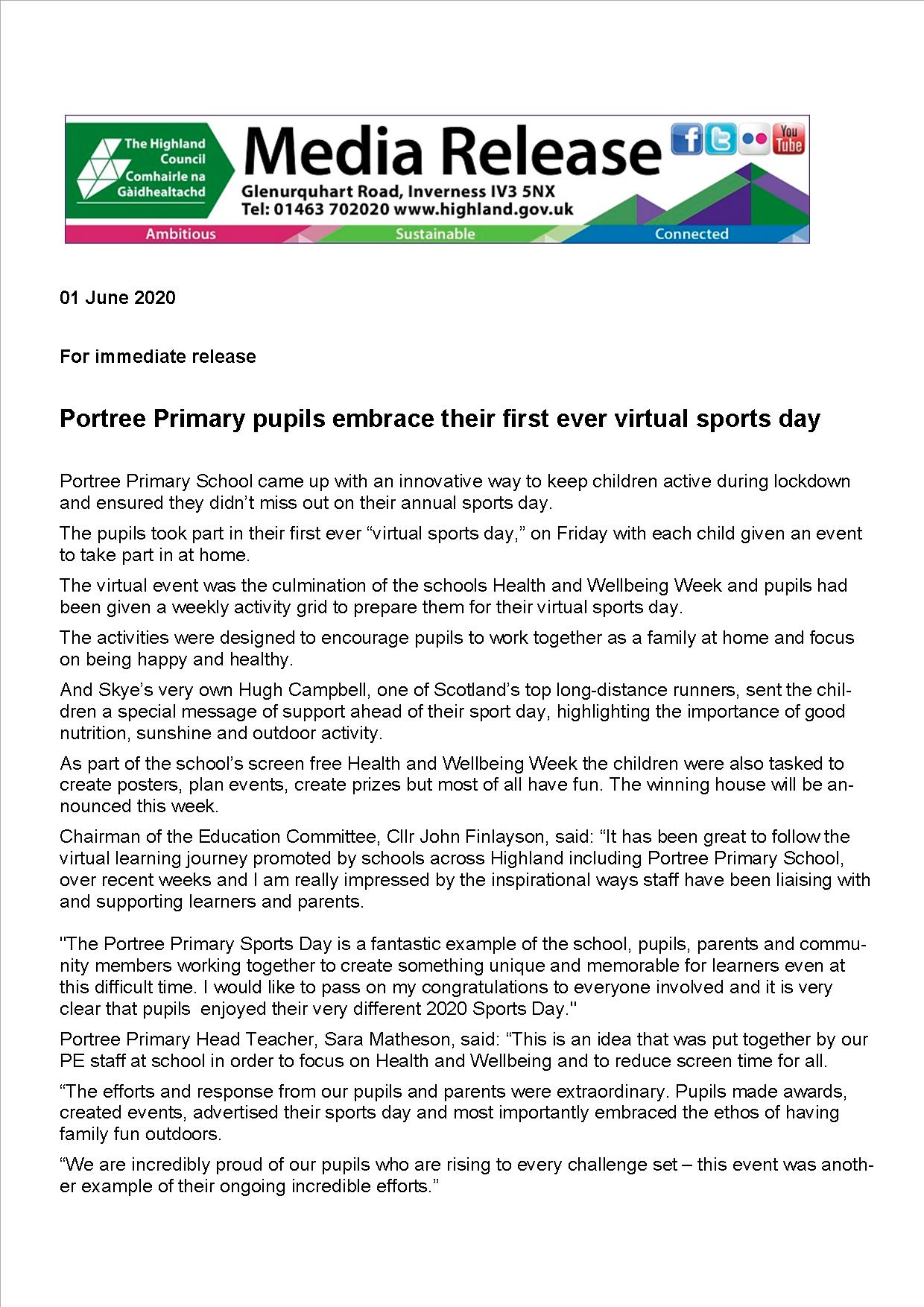 Media Release Sports Day